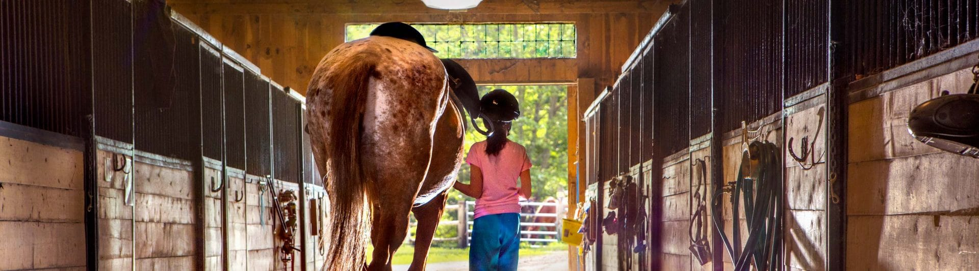 girl walking out of a stable with a horse